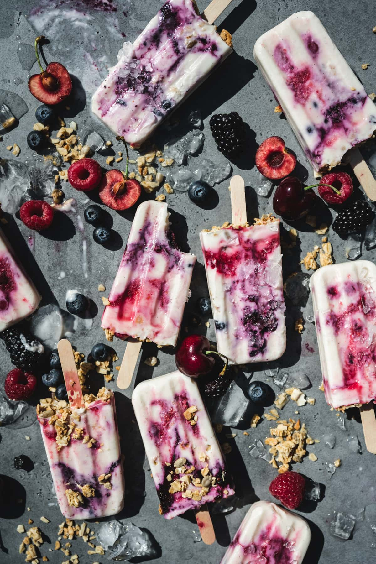 overhead view of vegan yogurt berry popsicles
