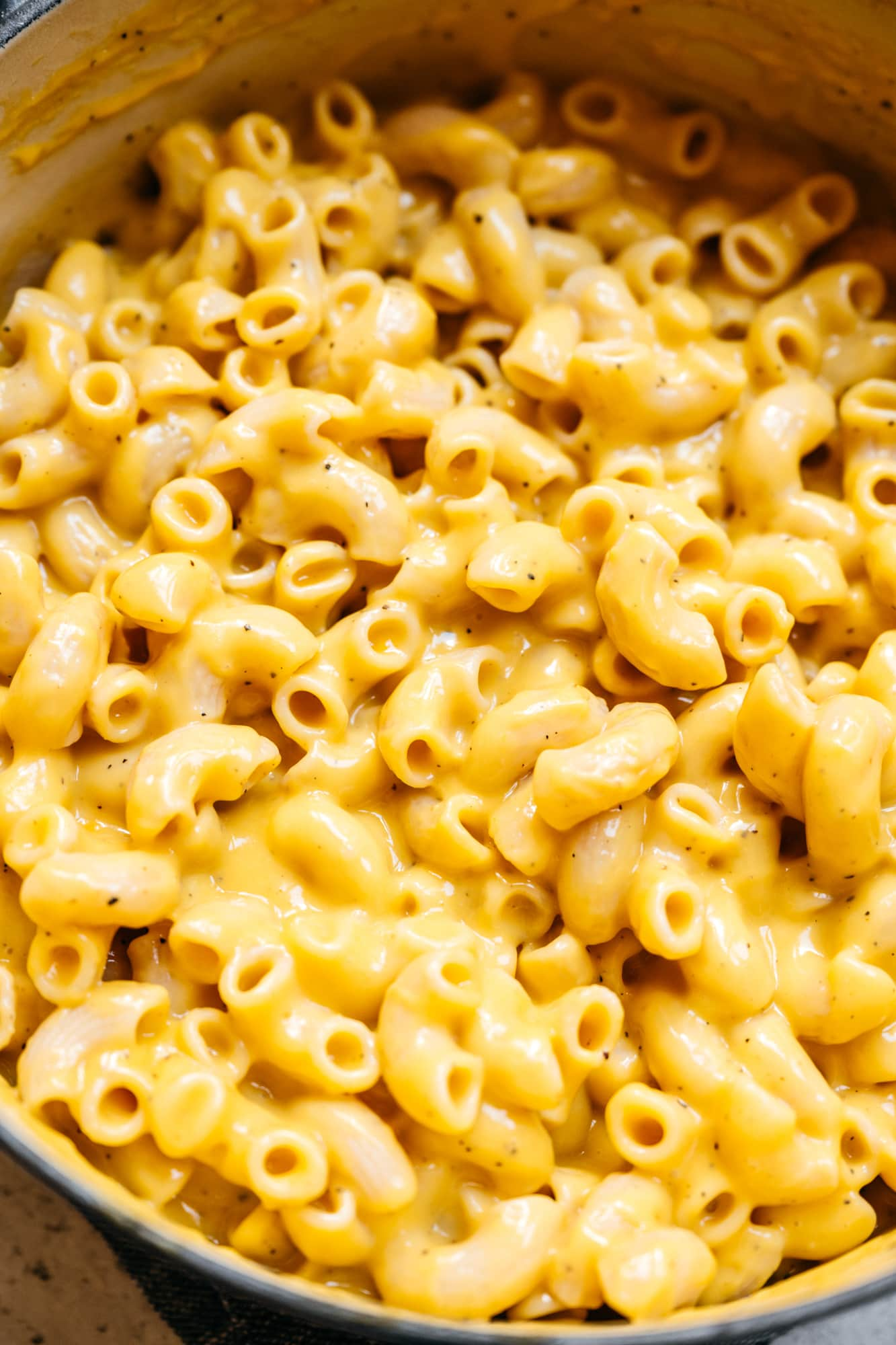close up view of the best easy, cheesy vegan mac and cheese