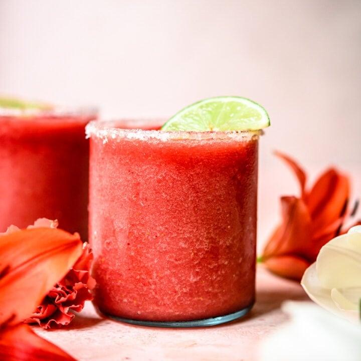 side view of Frozen Watermelon Jalapeño Margaritas