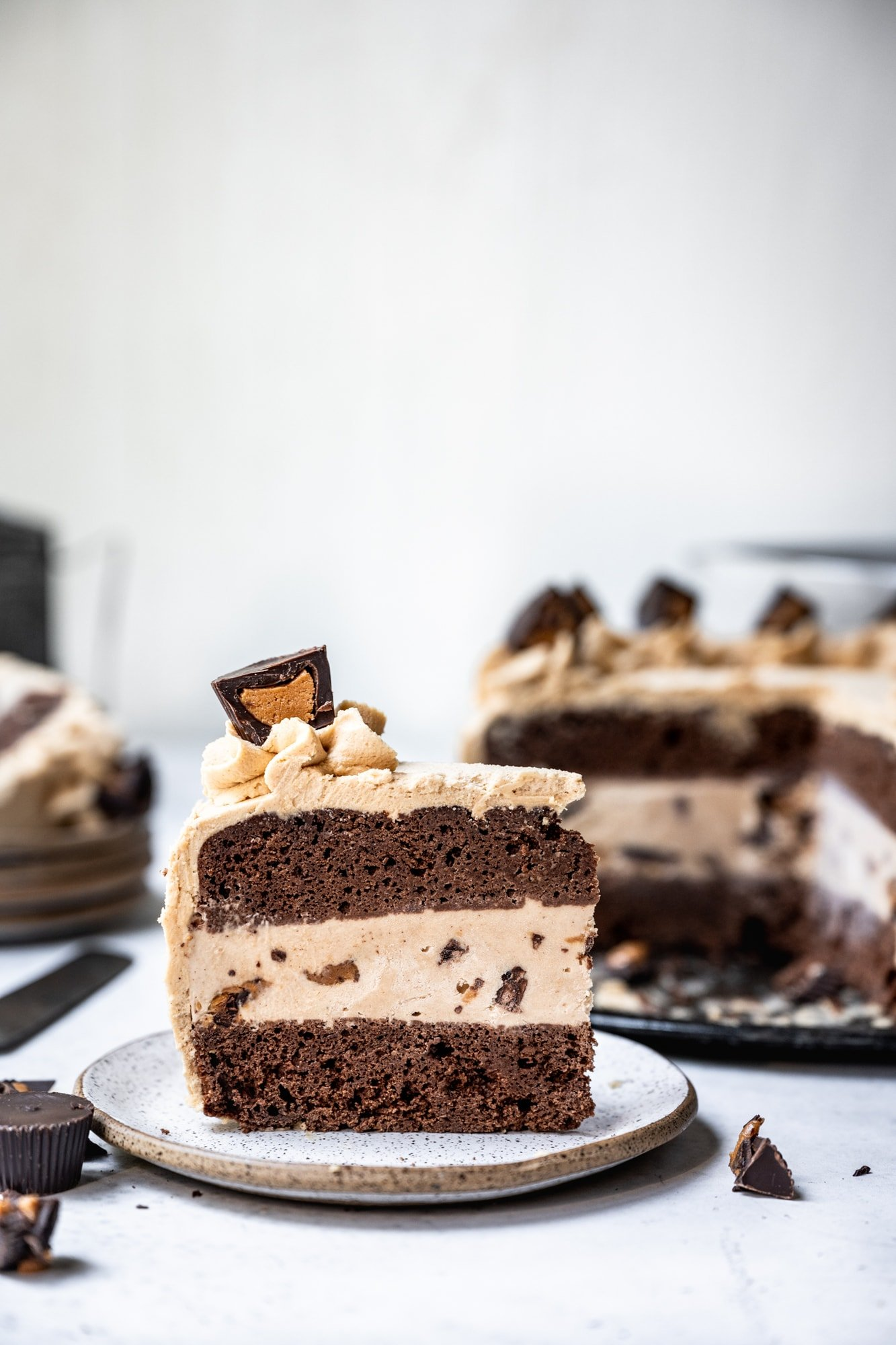 side view of slice of vegan chocolate peanut butter ice cream cake on plate