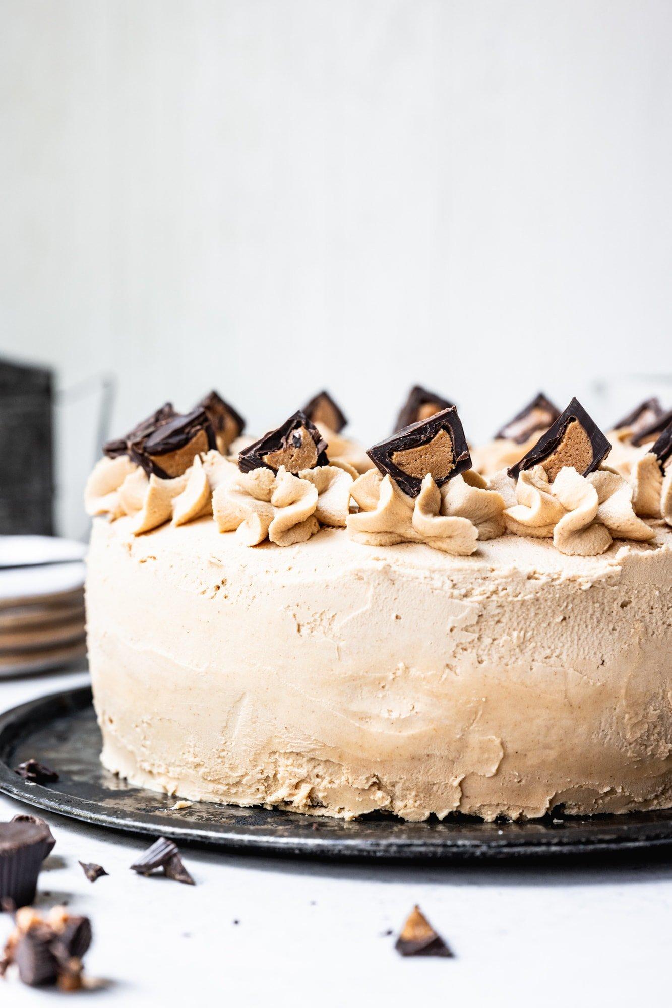 side view of vegan peanut butter ice cream cake