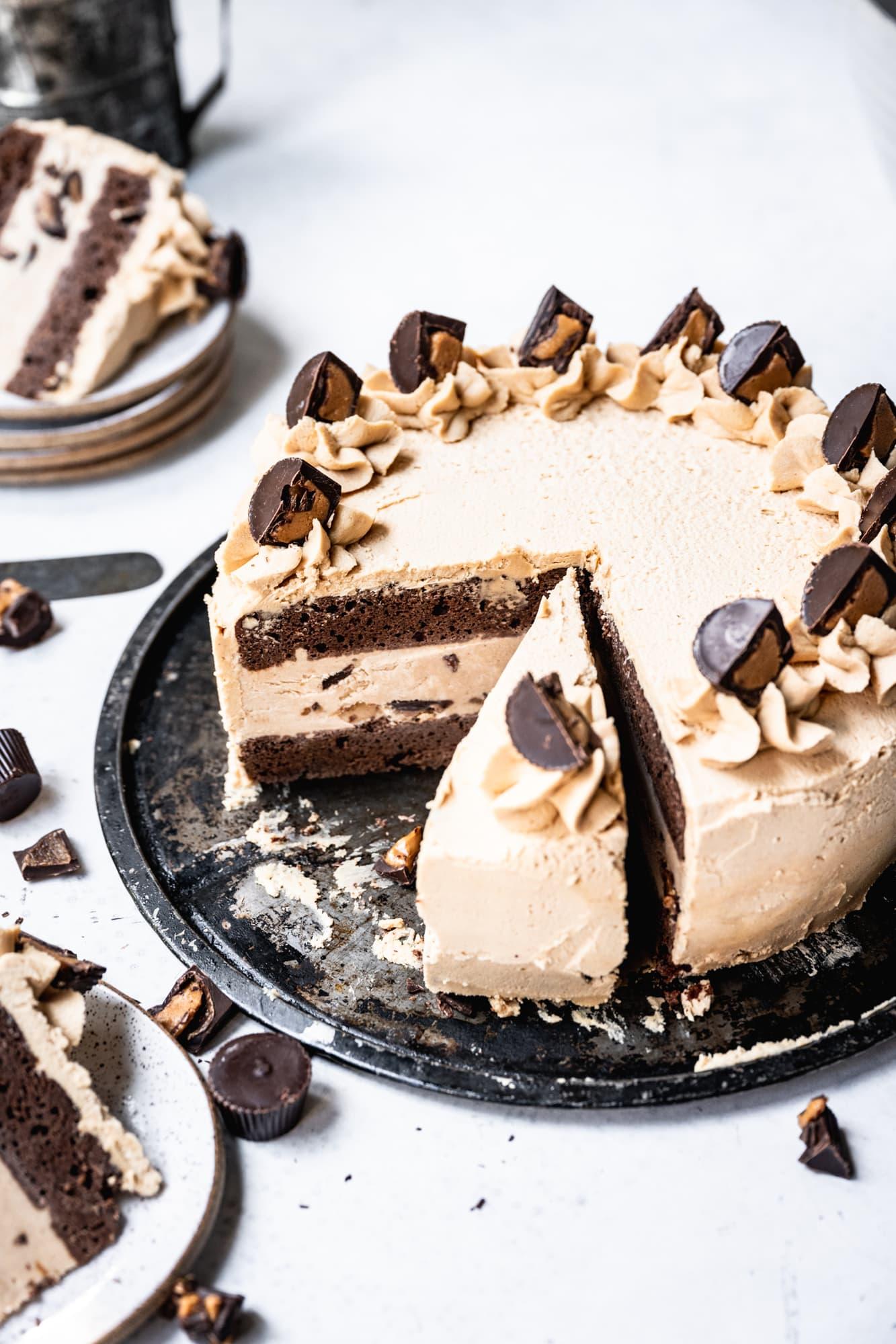 vegan peanut butter chocolate ice cream cake