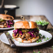 side view of pulled mushroom bbq sandwich