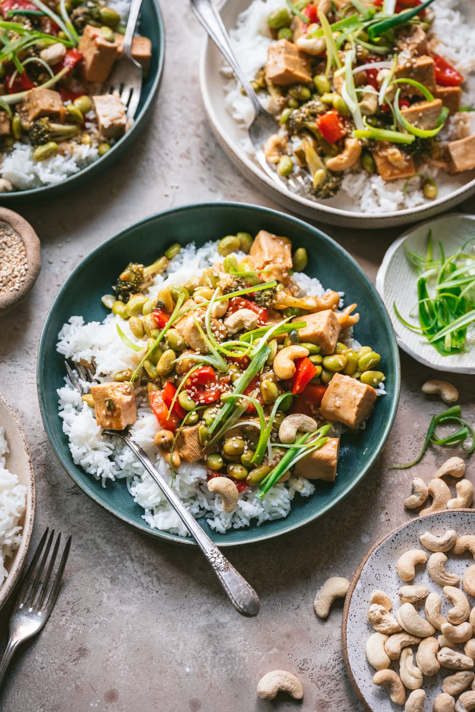vegan teriyaki tofu vegetable stir fry