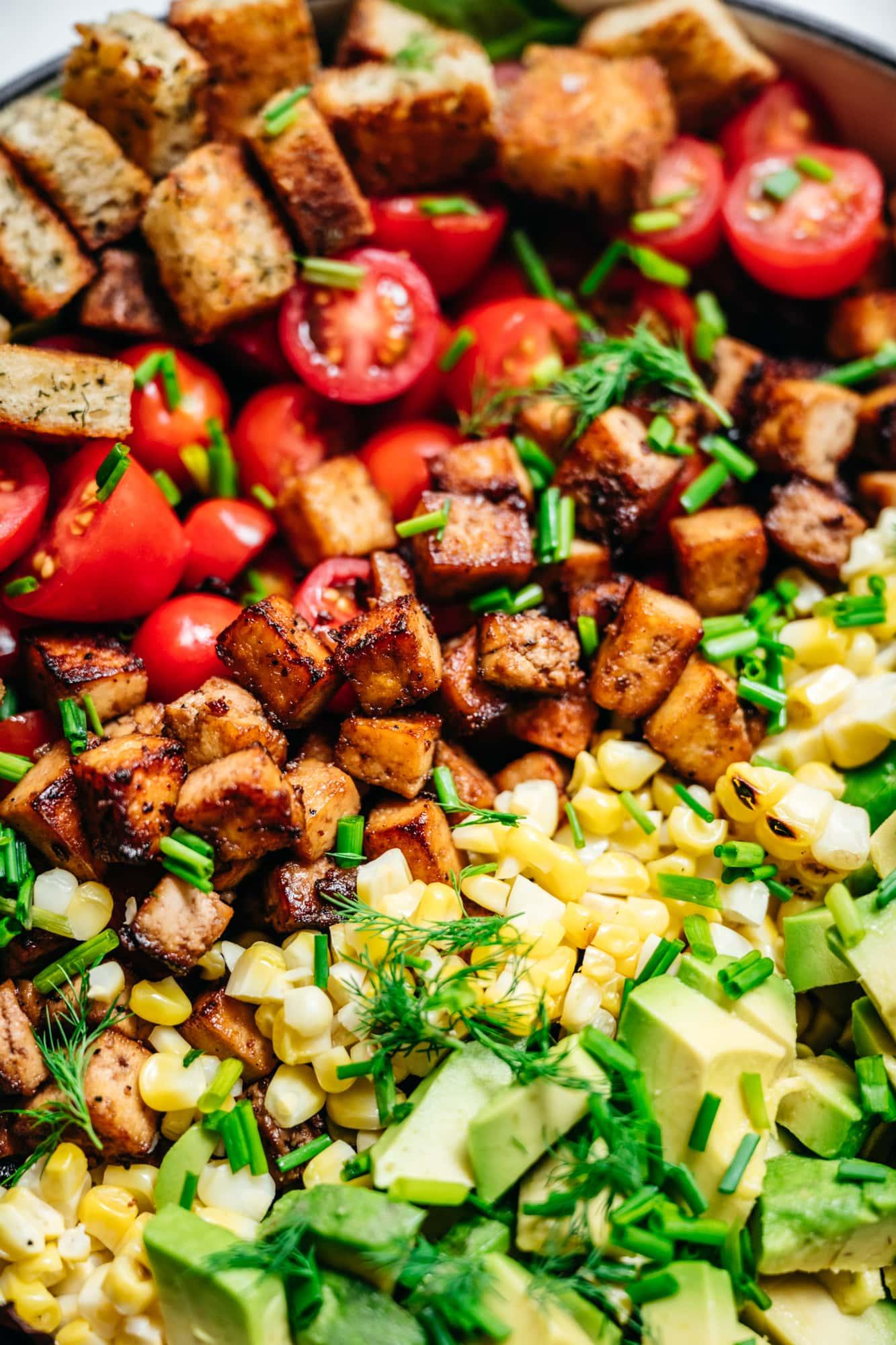 close up view of vegan blt salad