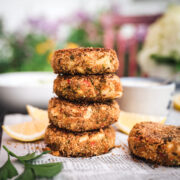 stack of vegan crab cakes