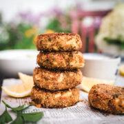 stack of vegan crab cakes