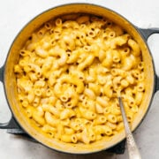 overhead view of vegan mac and cheese in pot