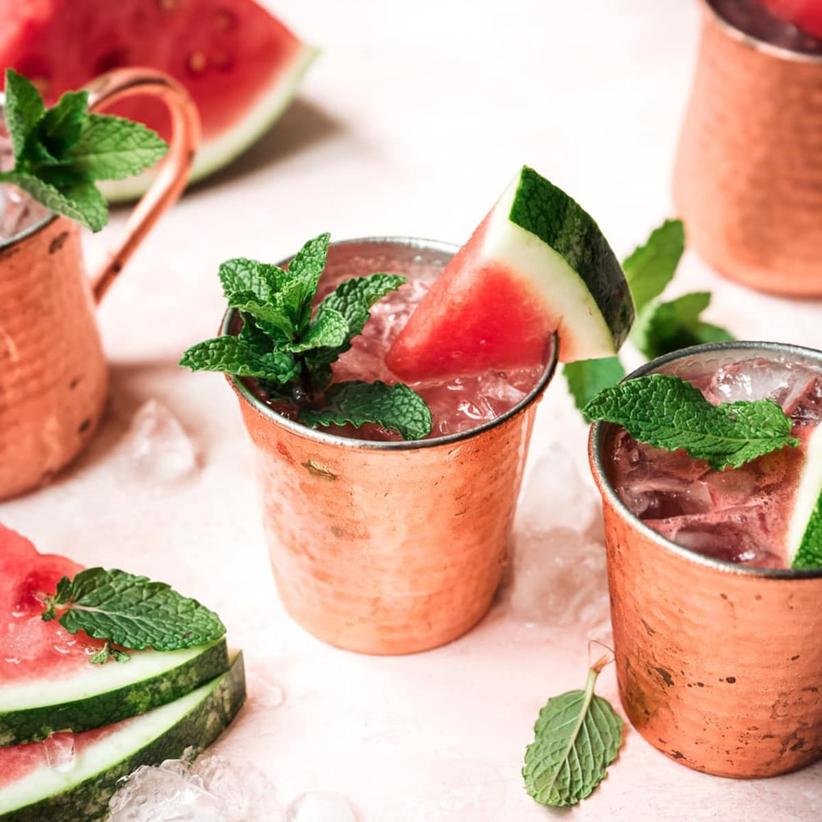 watermelon moscow mule with mint