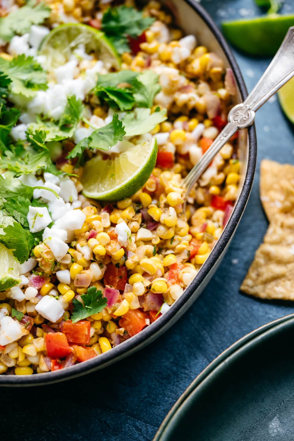 close up view of summer corn salad in bowl
