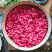 overhead view of vegan creamy beet pasta in large pot.