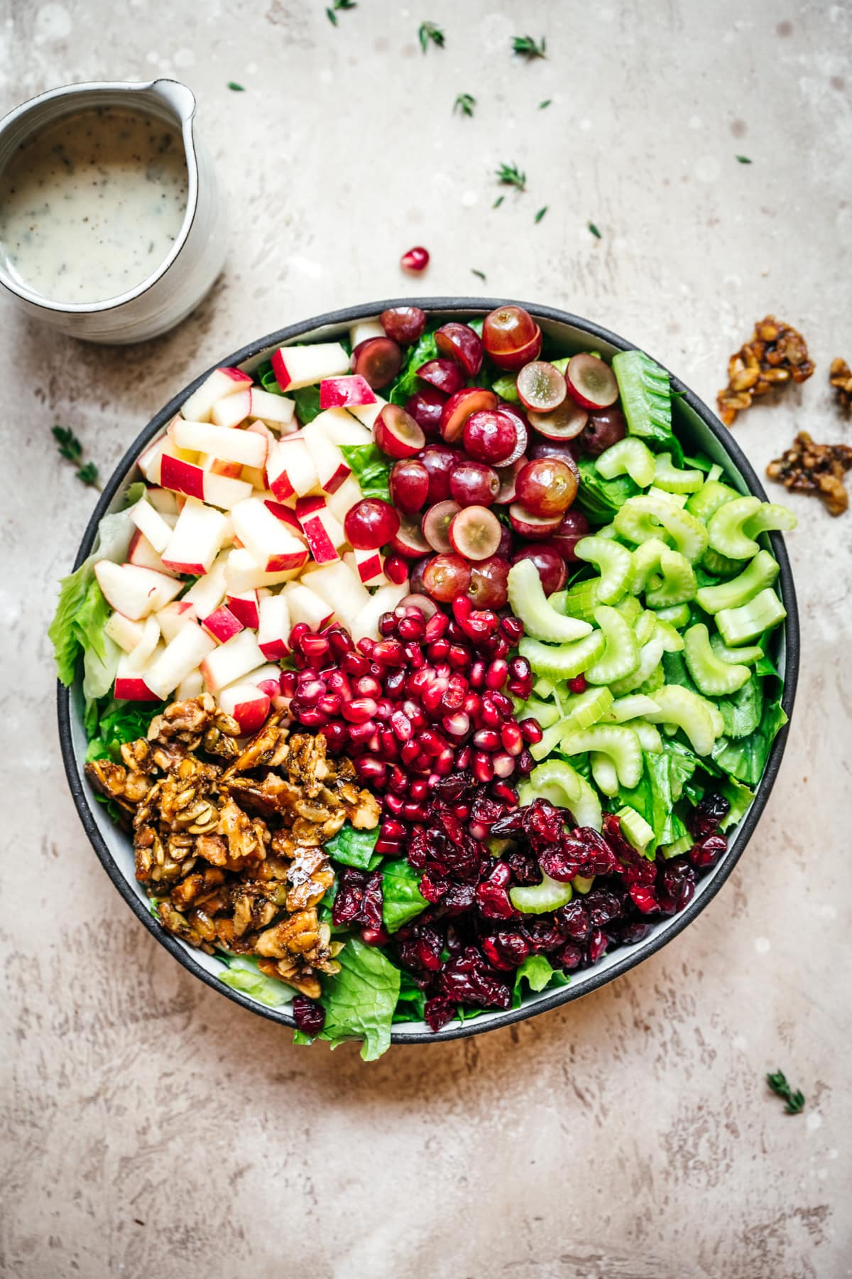 overhead view of vegan waldorf salad in bowl before adding dressing.