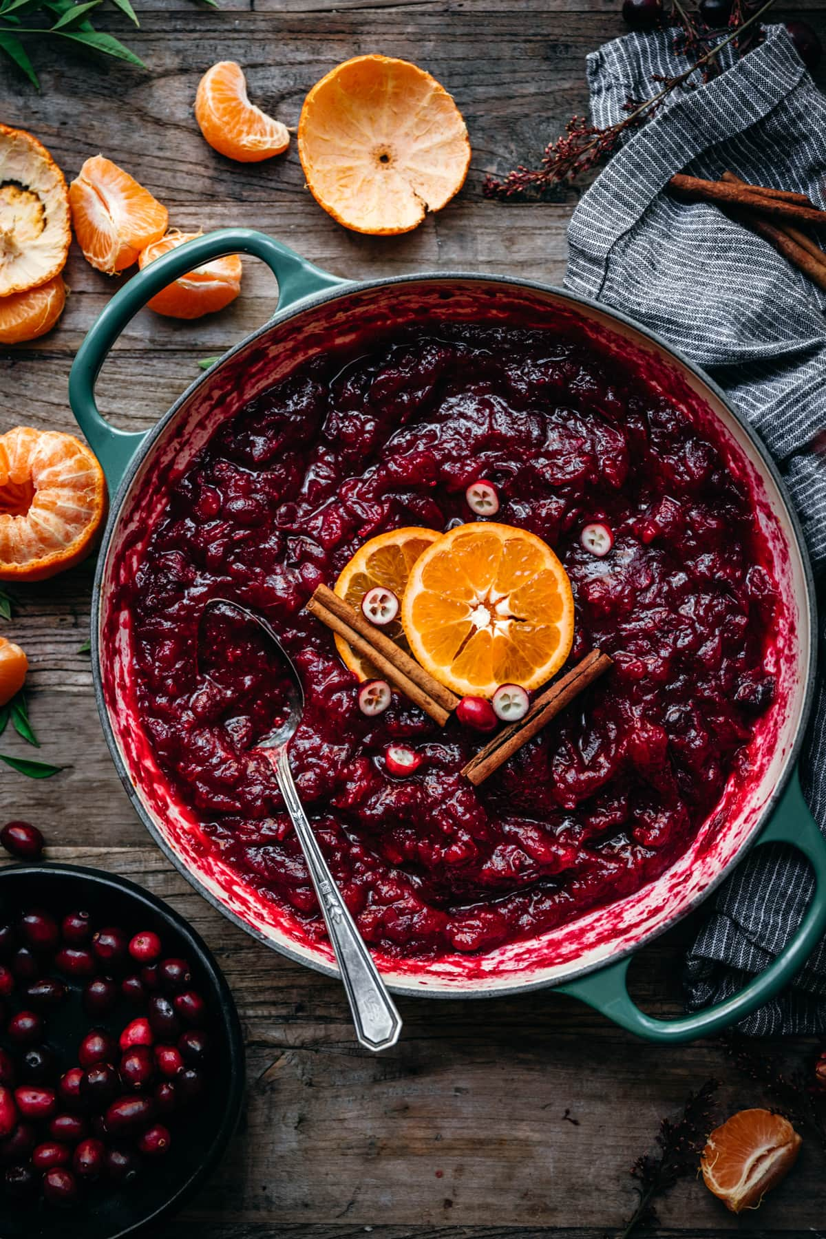 overhead view of cranberry sauce in a pan.