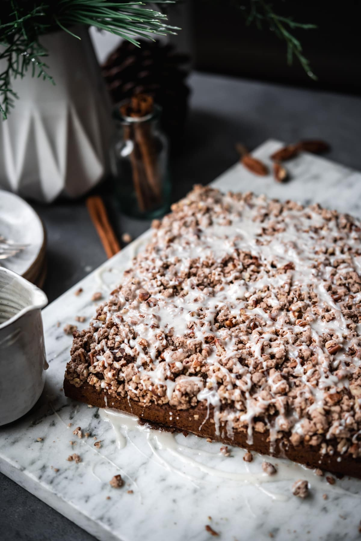 side view of  gingerbread coffee cake with streusel topping.