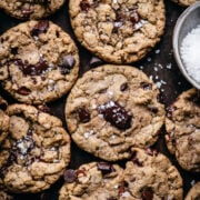 overhead view of chocolate chip cookies on a sheet pan.