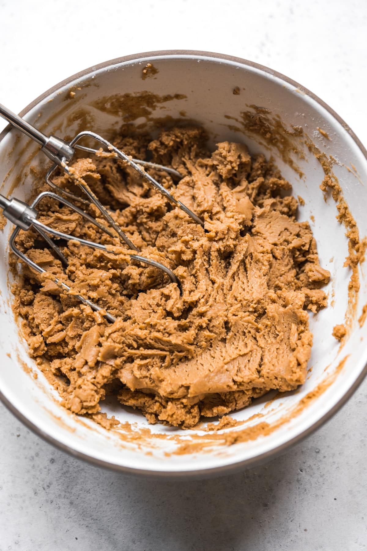 vegan buckeye dough in mixing bowl.