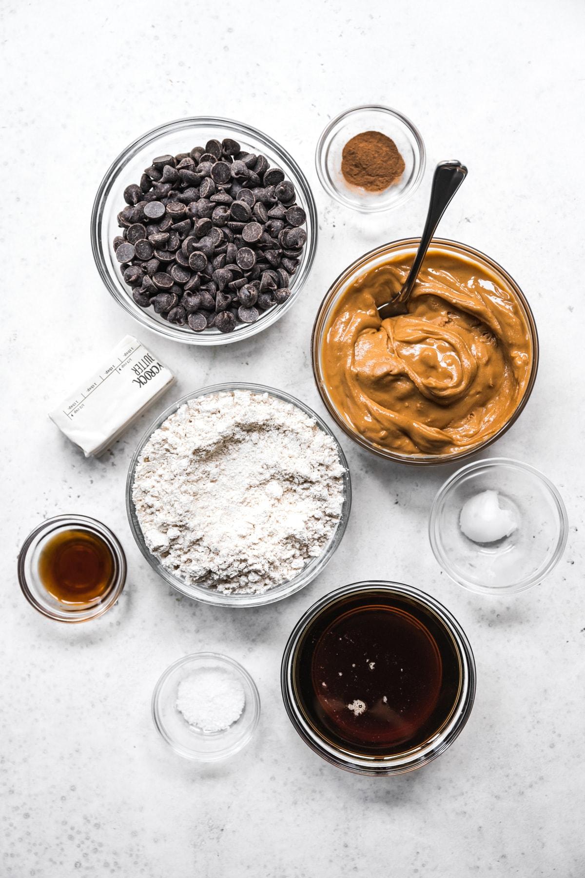 overhead view of ingredients for vegan buckeyes.
