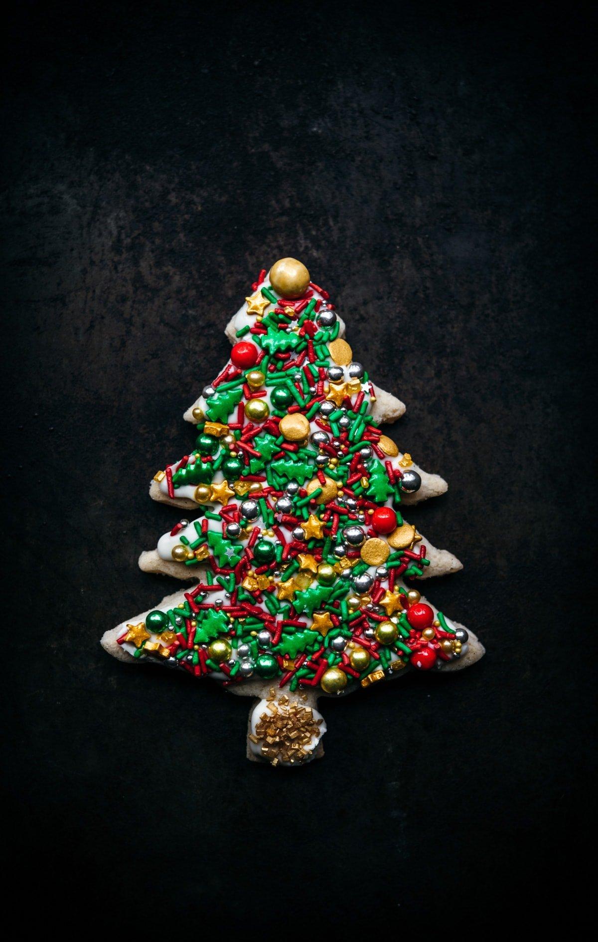 christmas tree cookie with sprinkles.