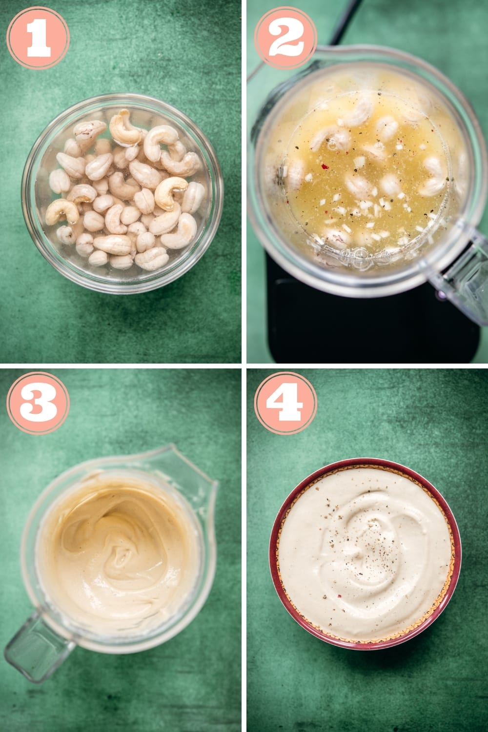 step-by-step photo collage of how to make tahini caesar dressing in a blender.