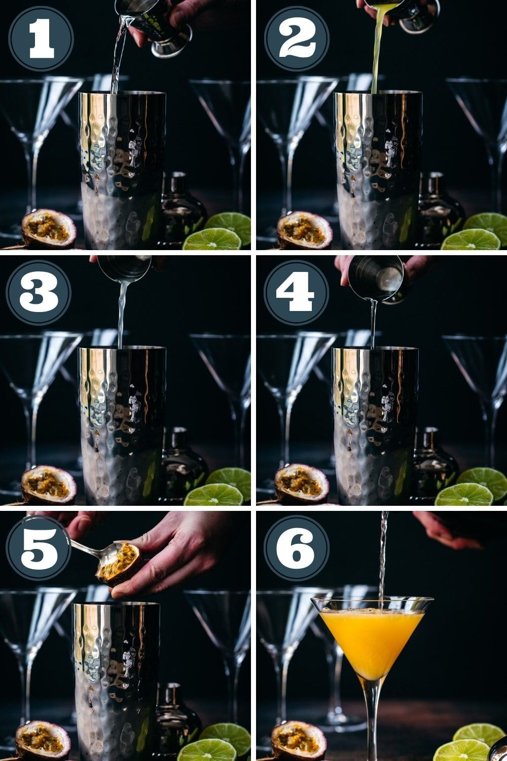 step by step of making a passion fruit martini in cocktail shaker.