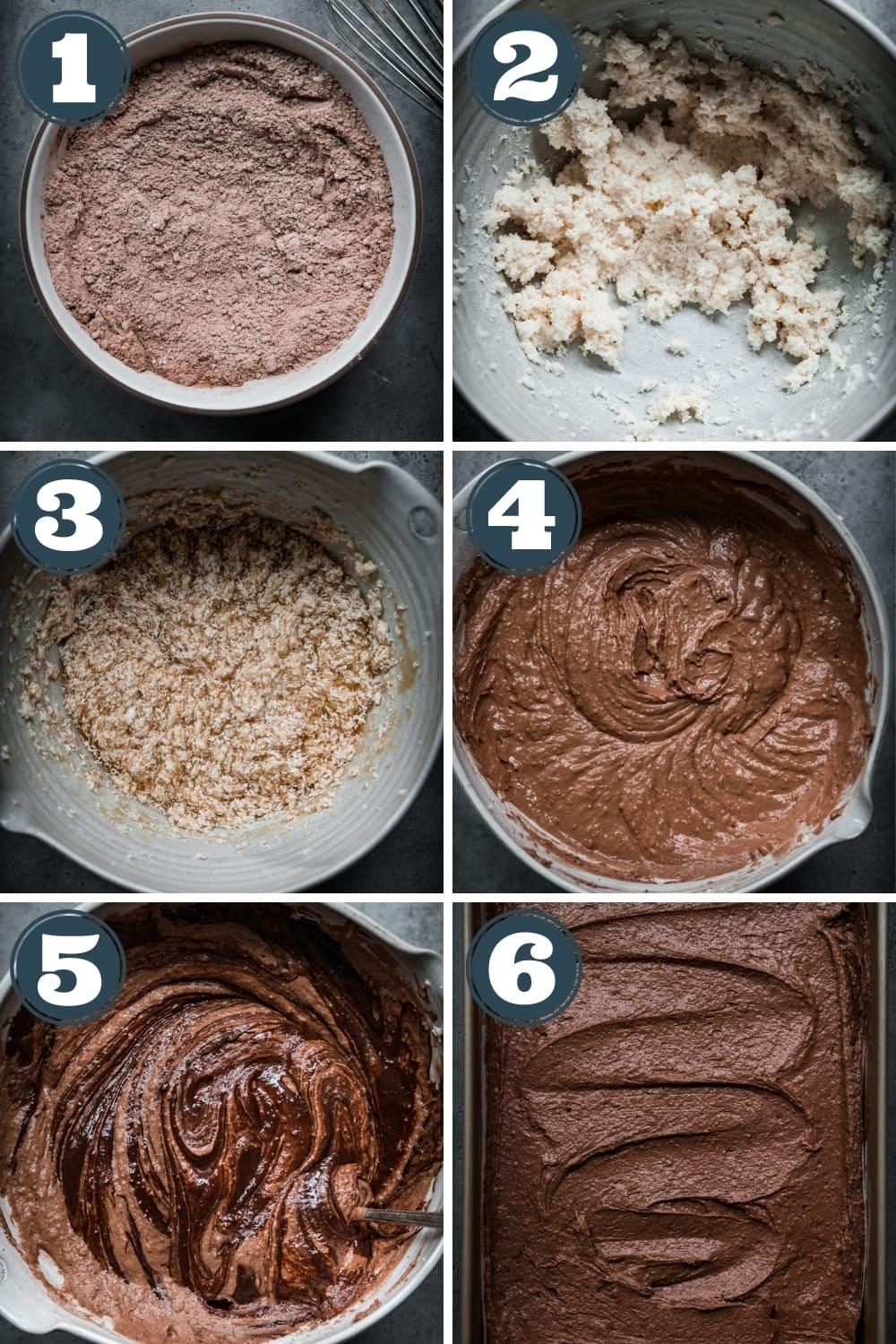 step-by-step photos for how to make vegan chocolate cake batter using an electric mixer.