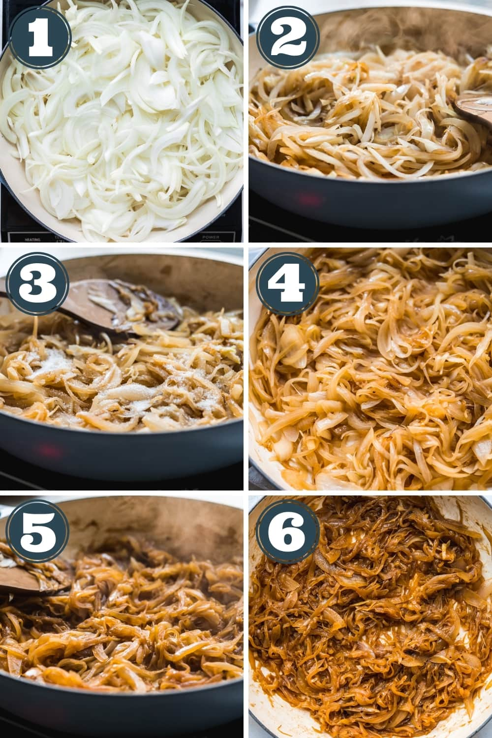 photo grid of caramelized onions from start of cooking process to finish.