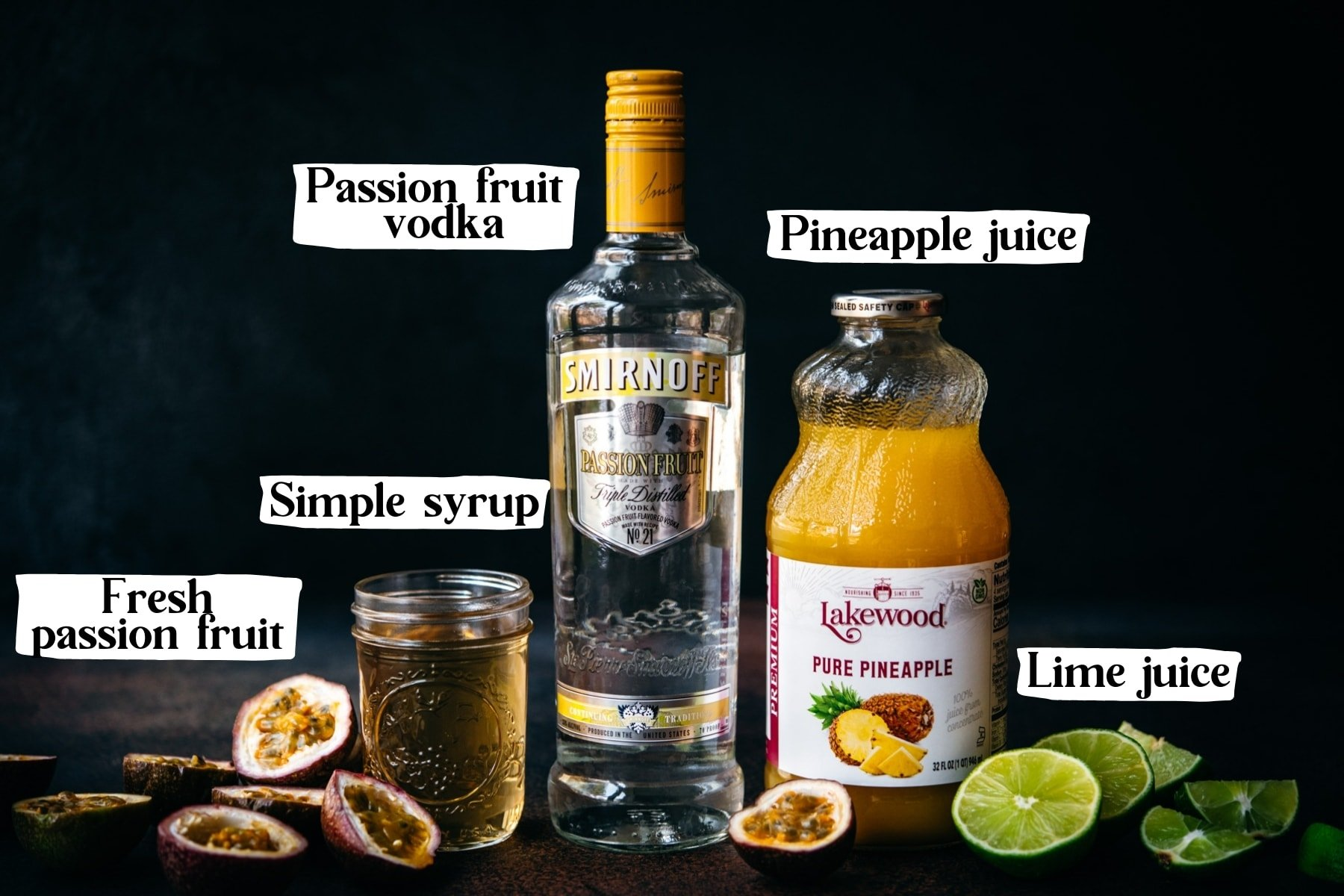 side view of ingredients for passion fruit martini with text labels.
