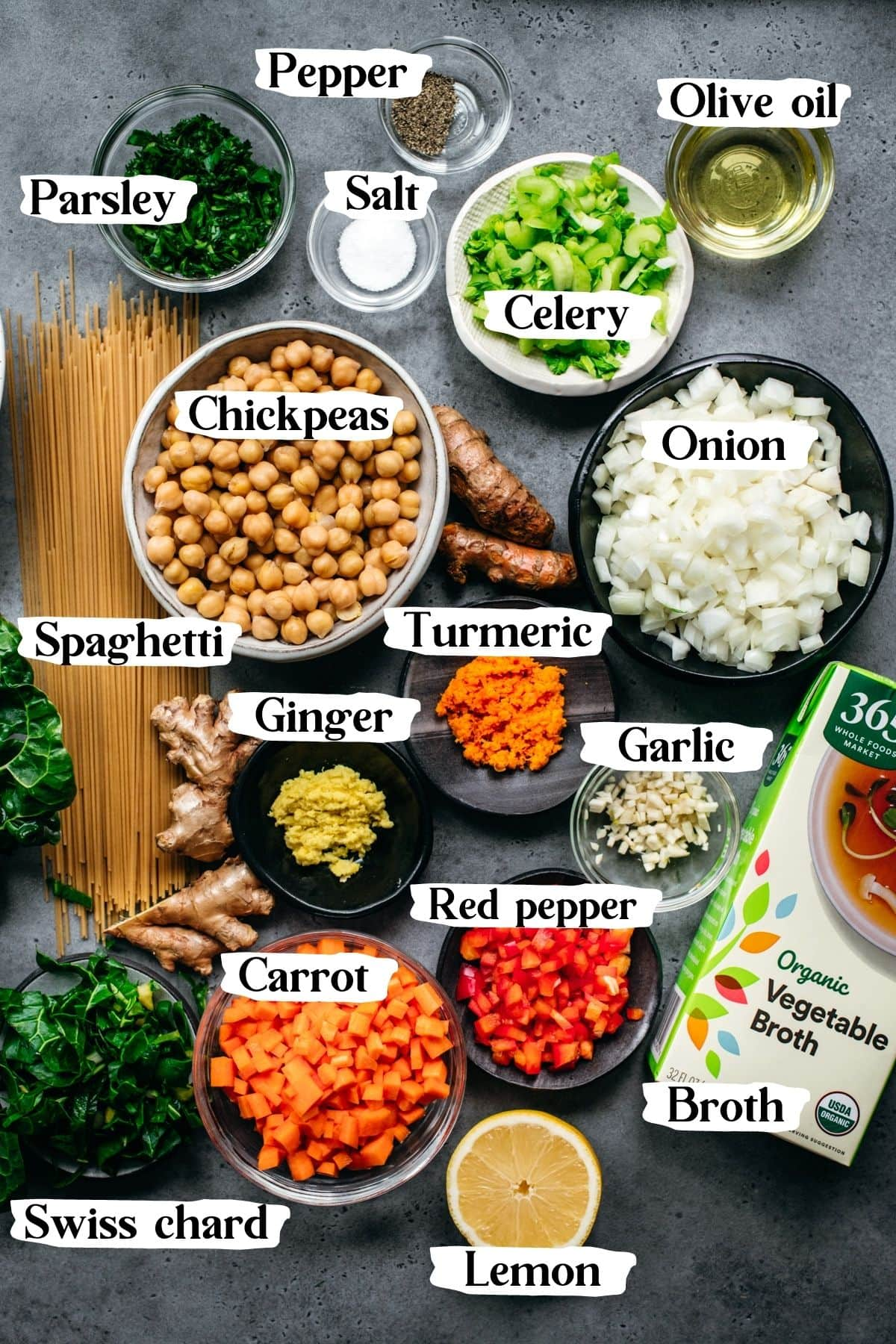 overhead view of all ingredients for immune boosting chickpea noodle soup with text labels.