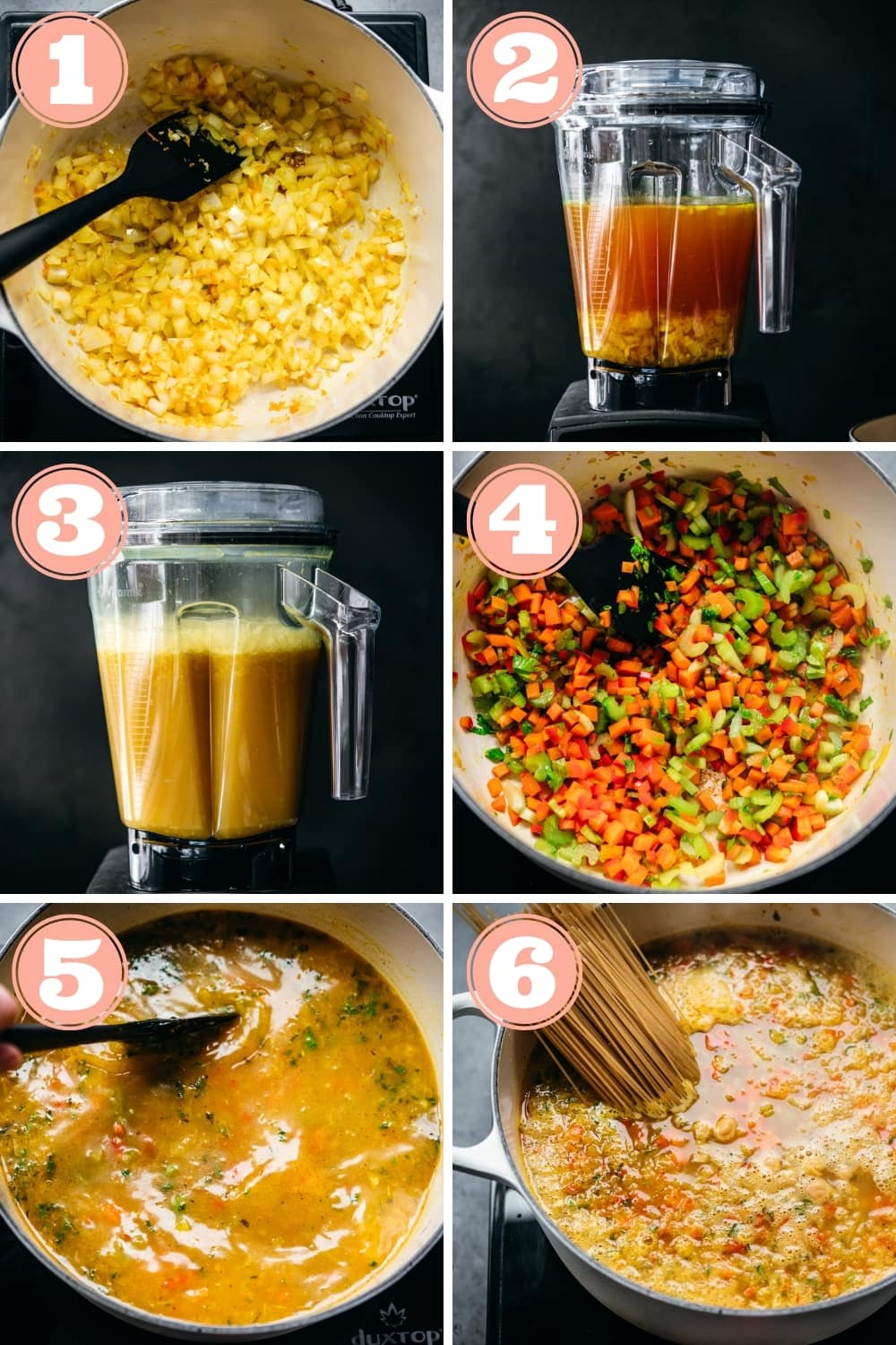 steps 1 through 6 for making turmeric ginger chickpea noodle soup.