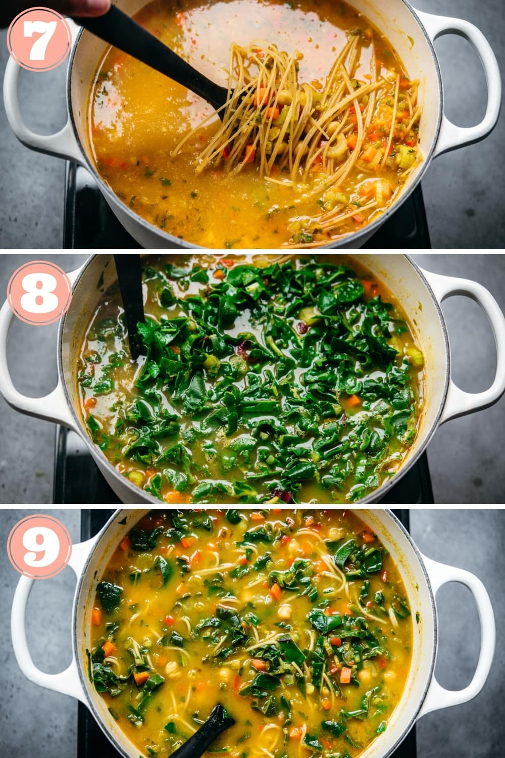 step-by-step instructions for chickpea noodle soup.