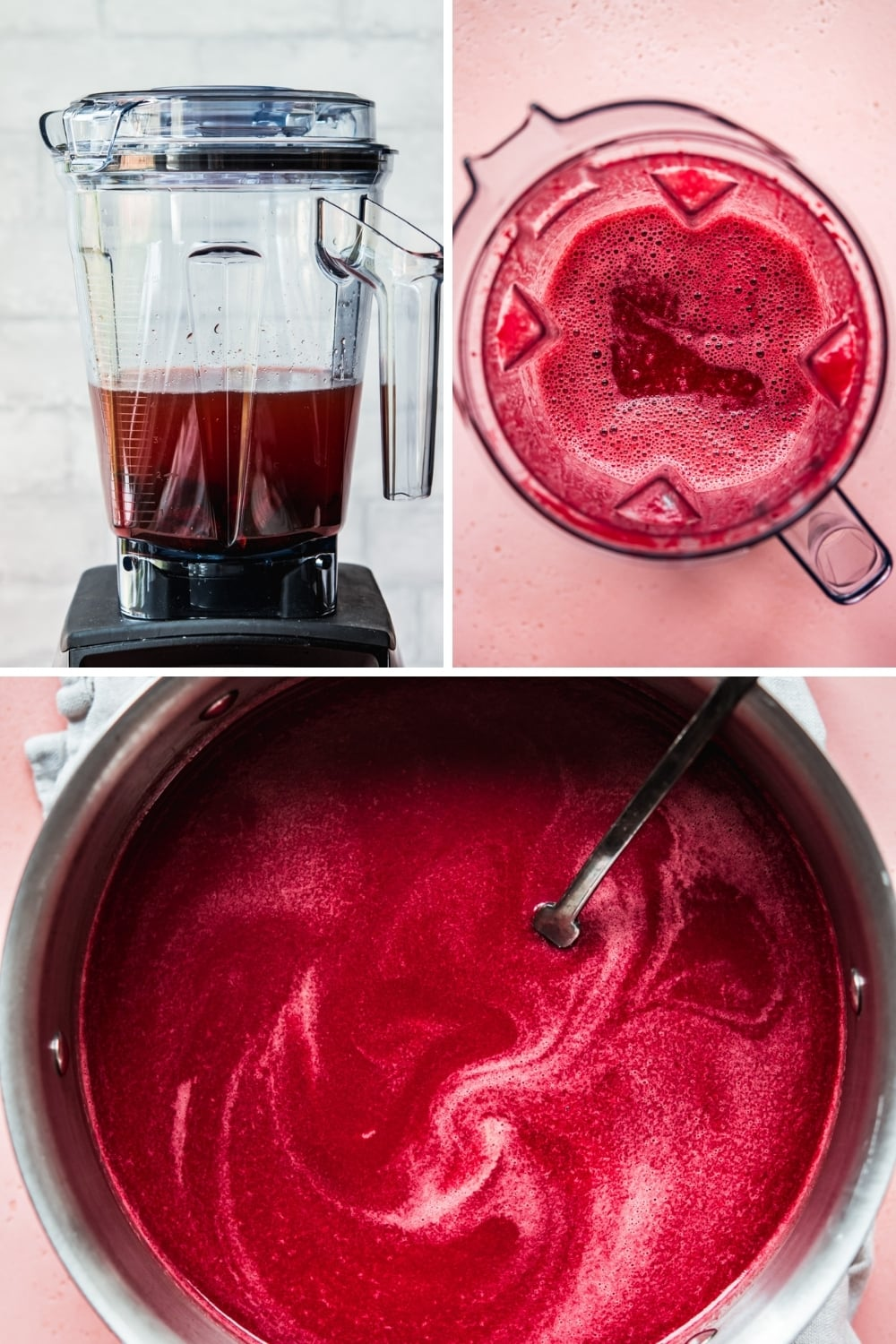 step-by-step photos for making beet broth in a blender.