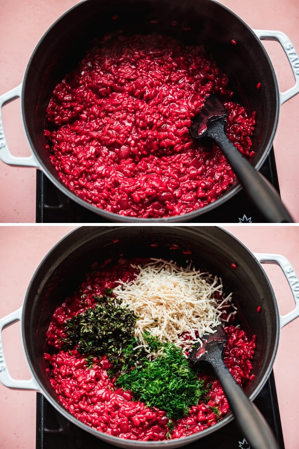 Beet risotto in a pan with vegan parmesan and fresh herbs.