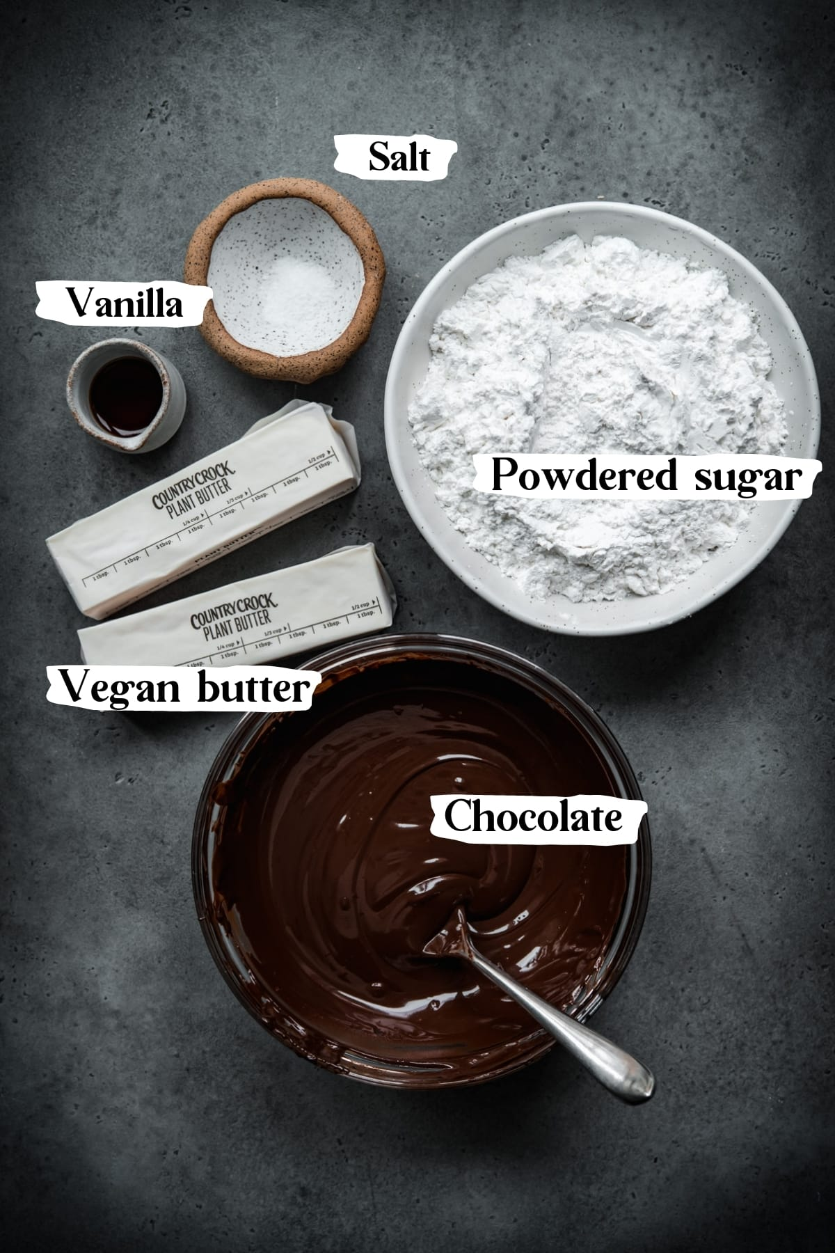 overhead view of ingredients for vegan chocolate buttercream with text labels.