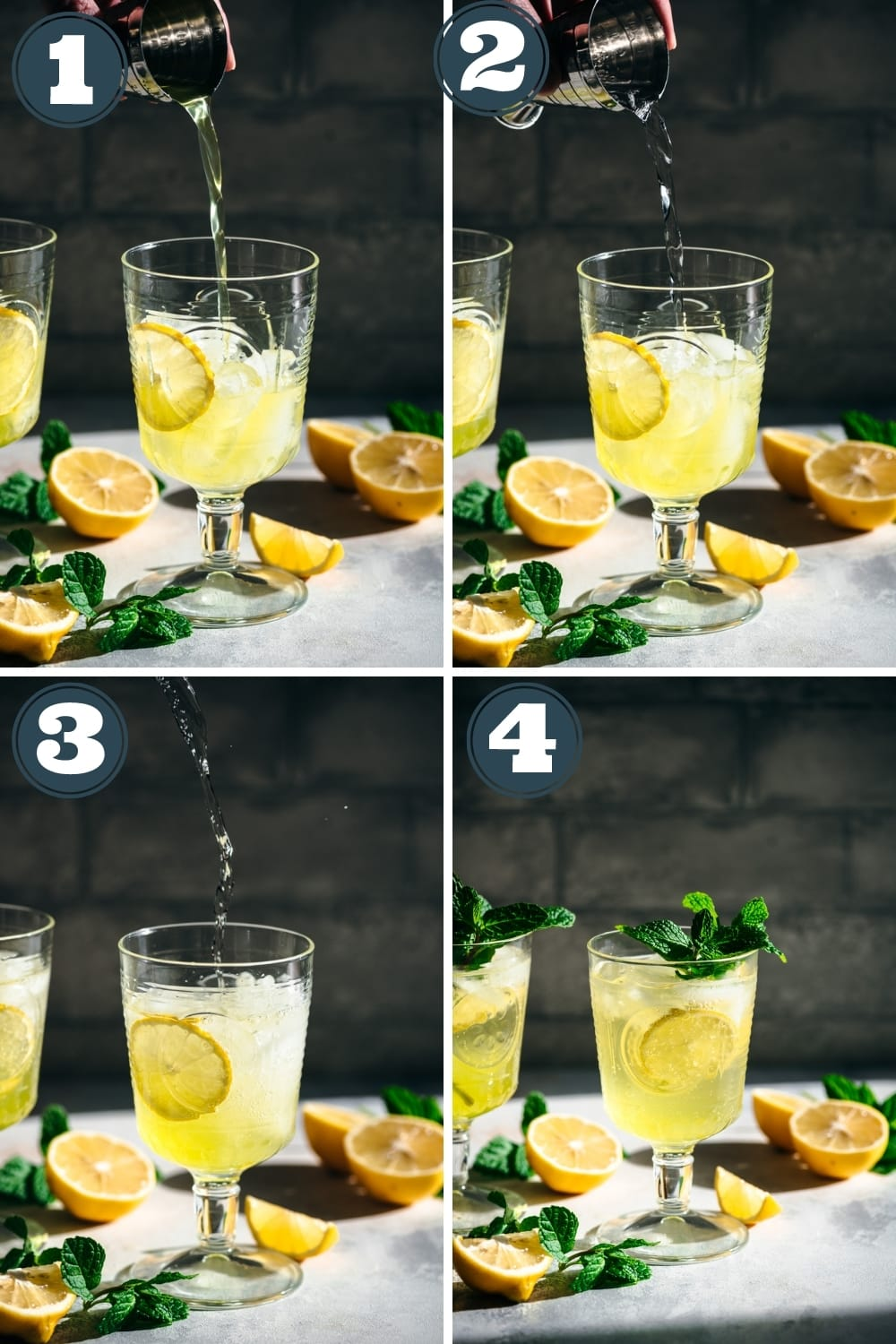 step by step photos of pouring ingredients for limoncello spritz into a cocktail glass.