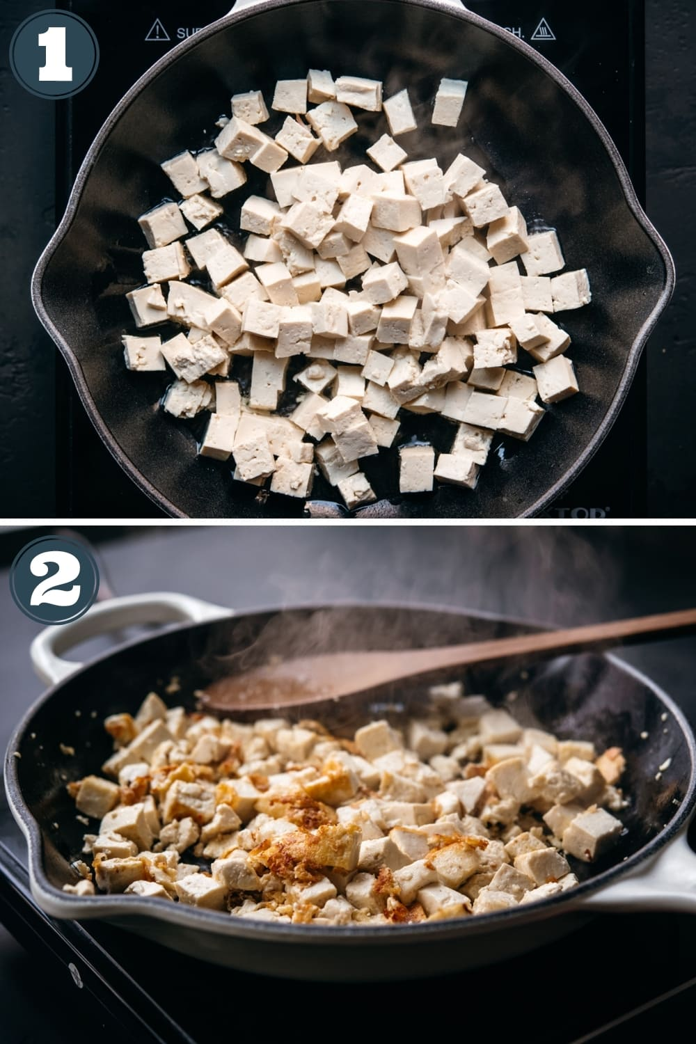 step-by-step instructions for making crispy tofu in a skillet.