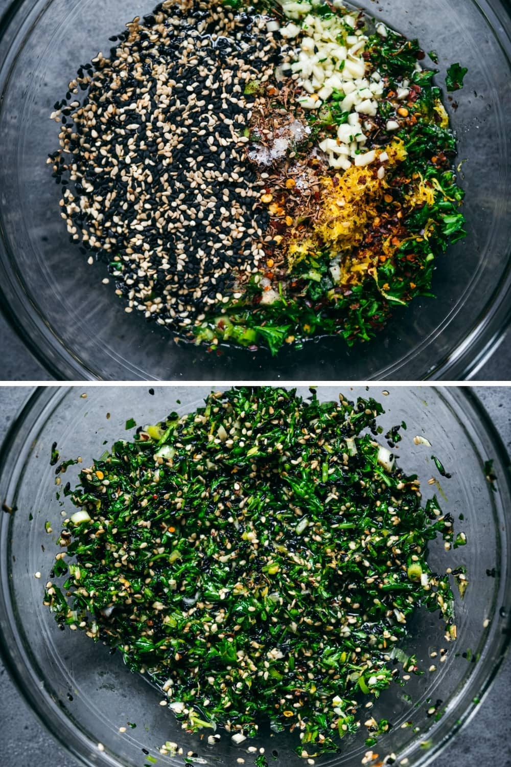 overhead view of za'atar sesame seed gremolata before and after stirring.