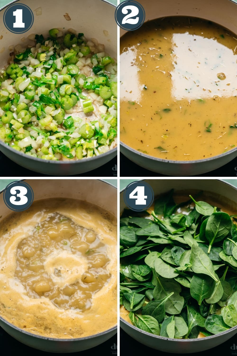 step-by-step instructions for how to make white bean spinach soup.
