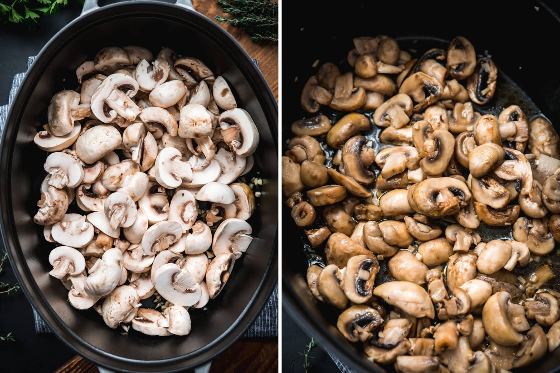 before and after of mushrooms being cooked in a large dutch oven.