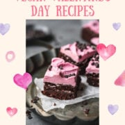 Vegan beet brownies on a plate with wax paper.