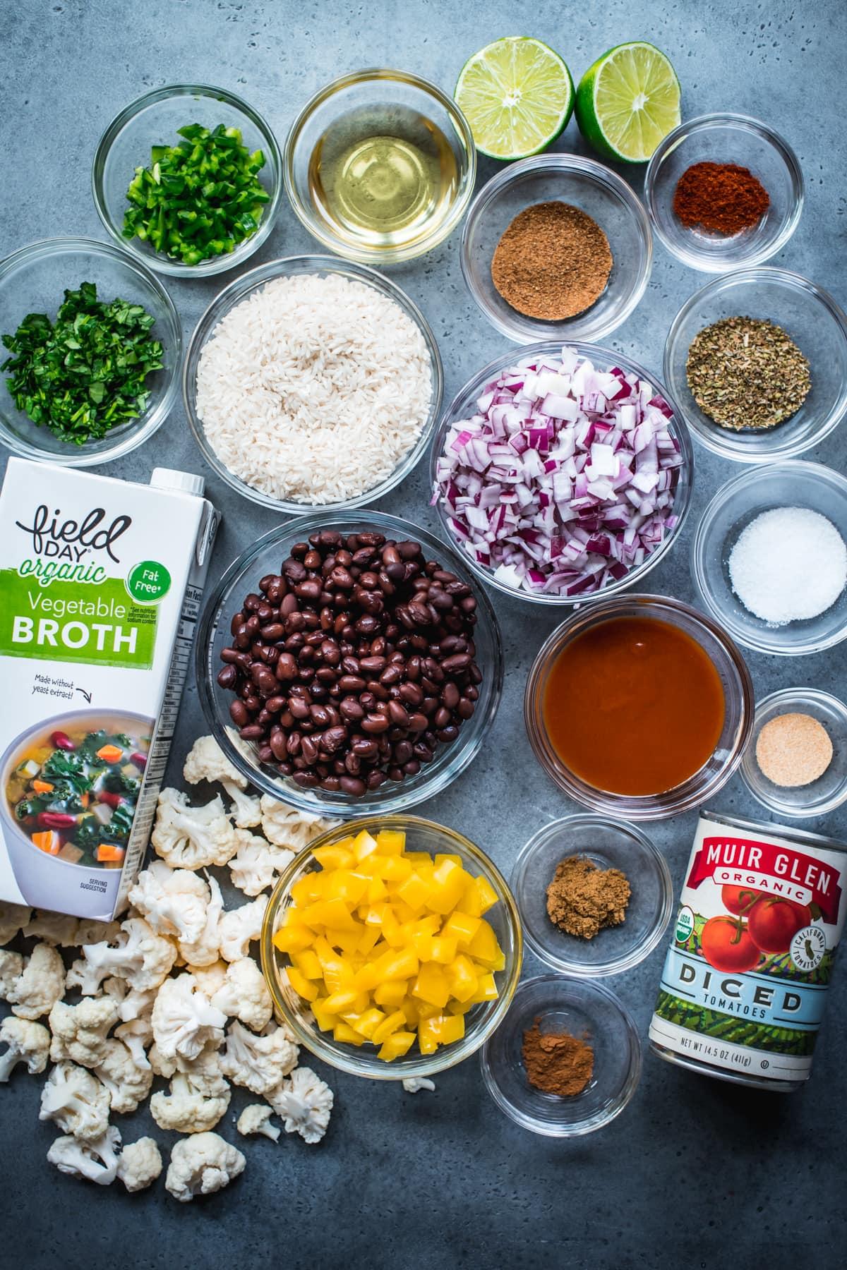 overhead view of ingredients for cheesy cauliflower black bean bake.