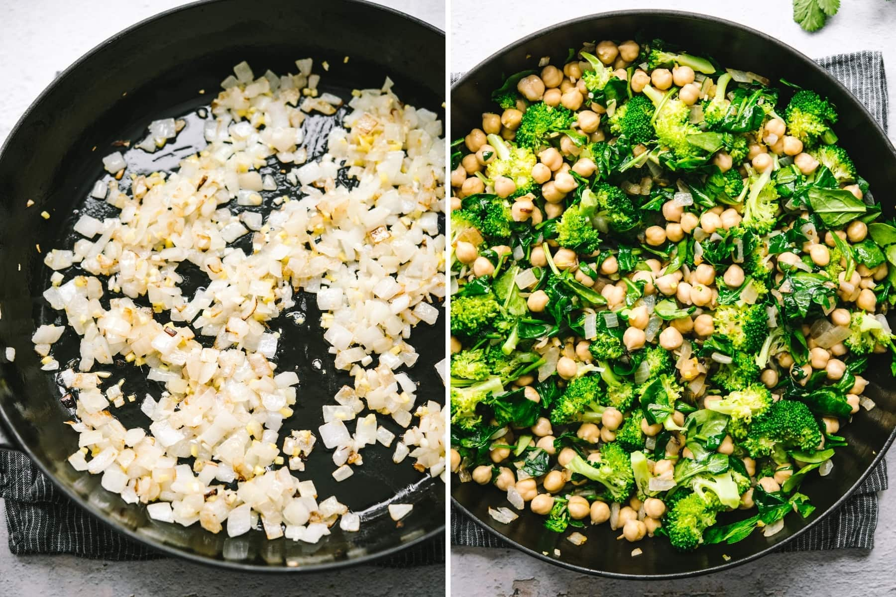sautéed onions, garlic and ginger and sautéed broccoli, spinach and chickpeas.