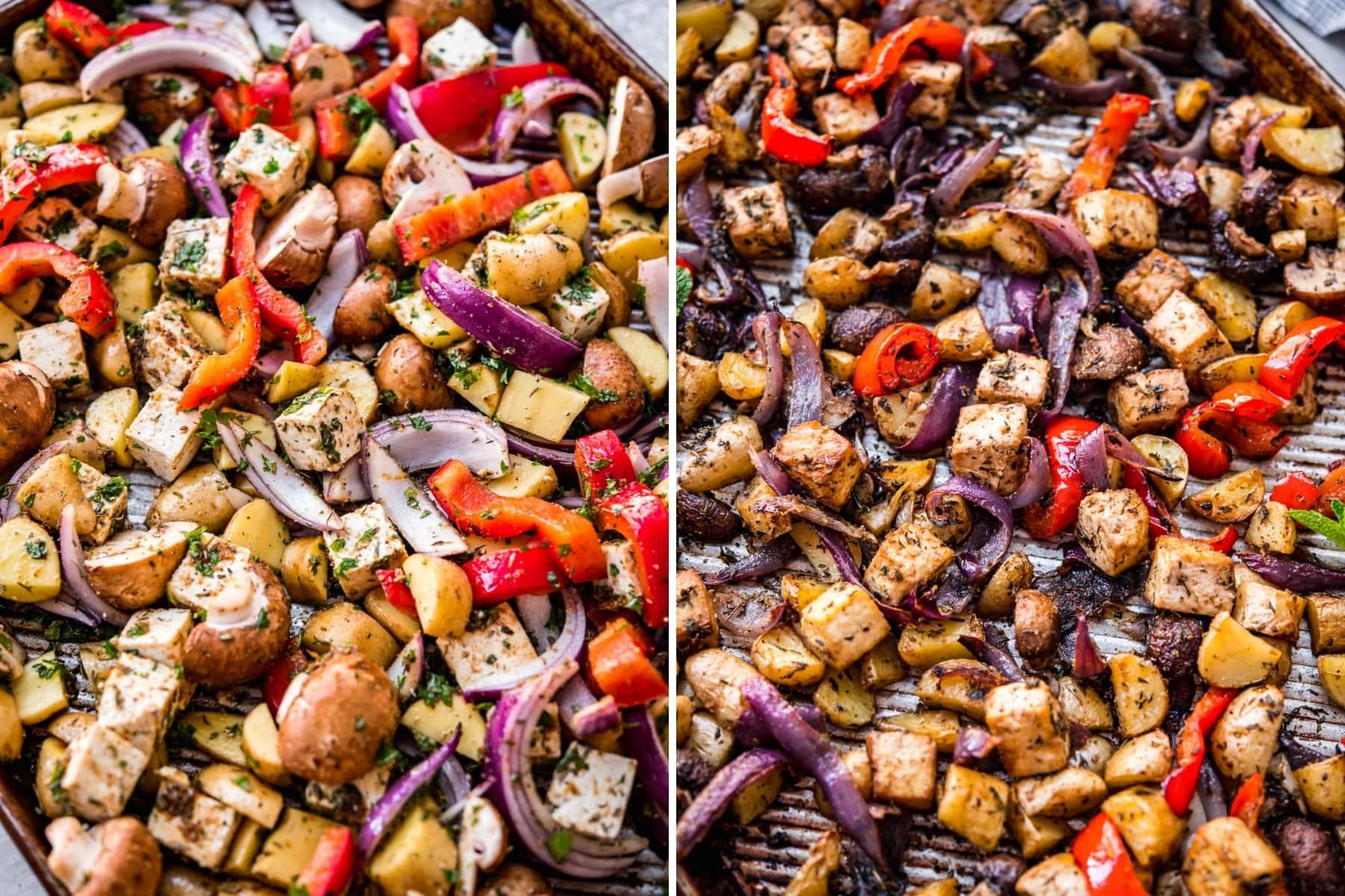 before and after roasting ingredients for vegan mediterranean sheet pan dinner.