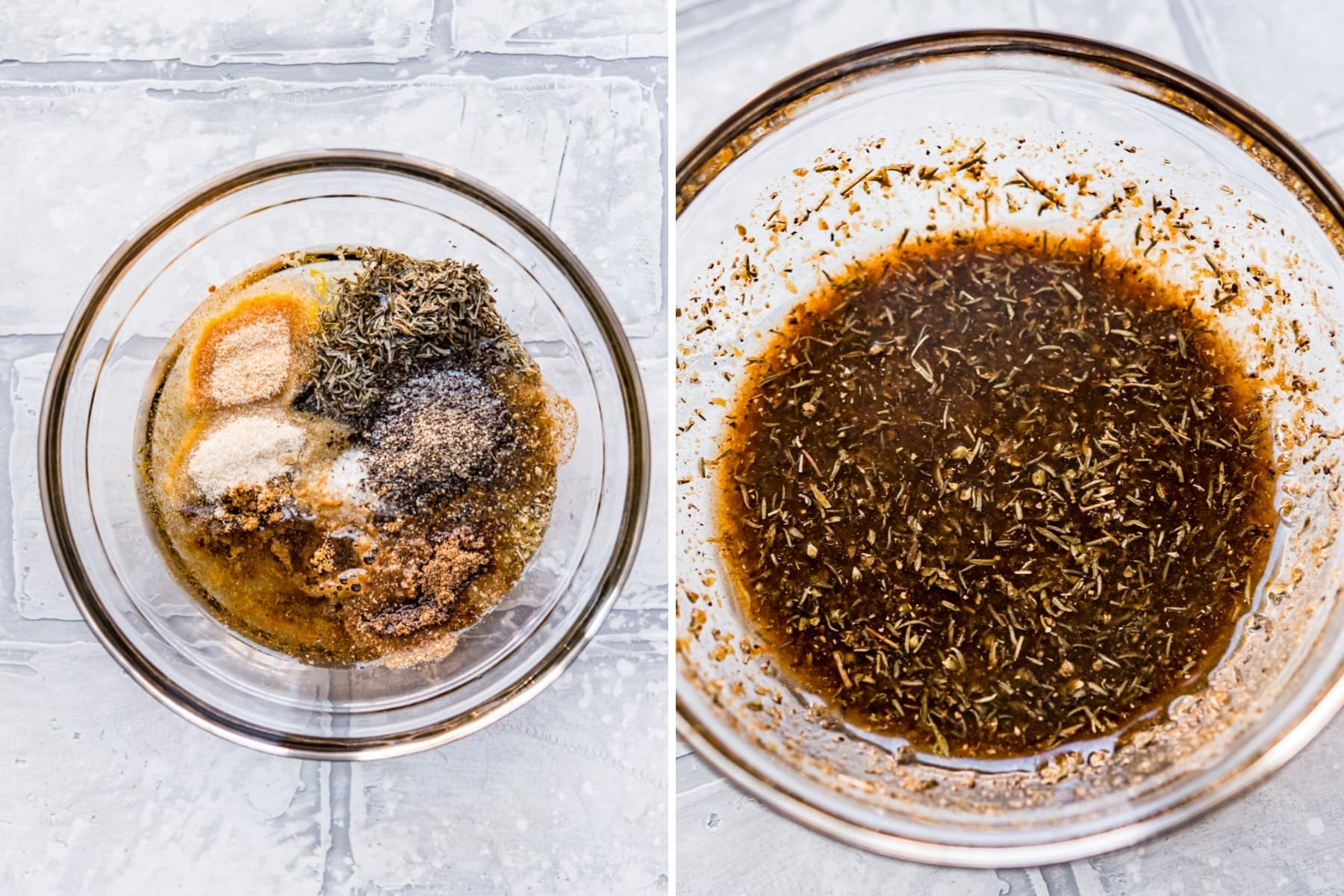 before and after whisking together ingredients for mediterranean marinade.
