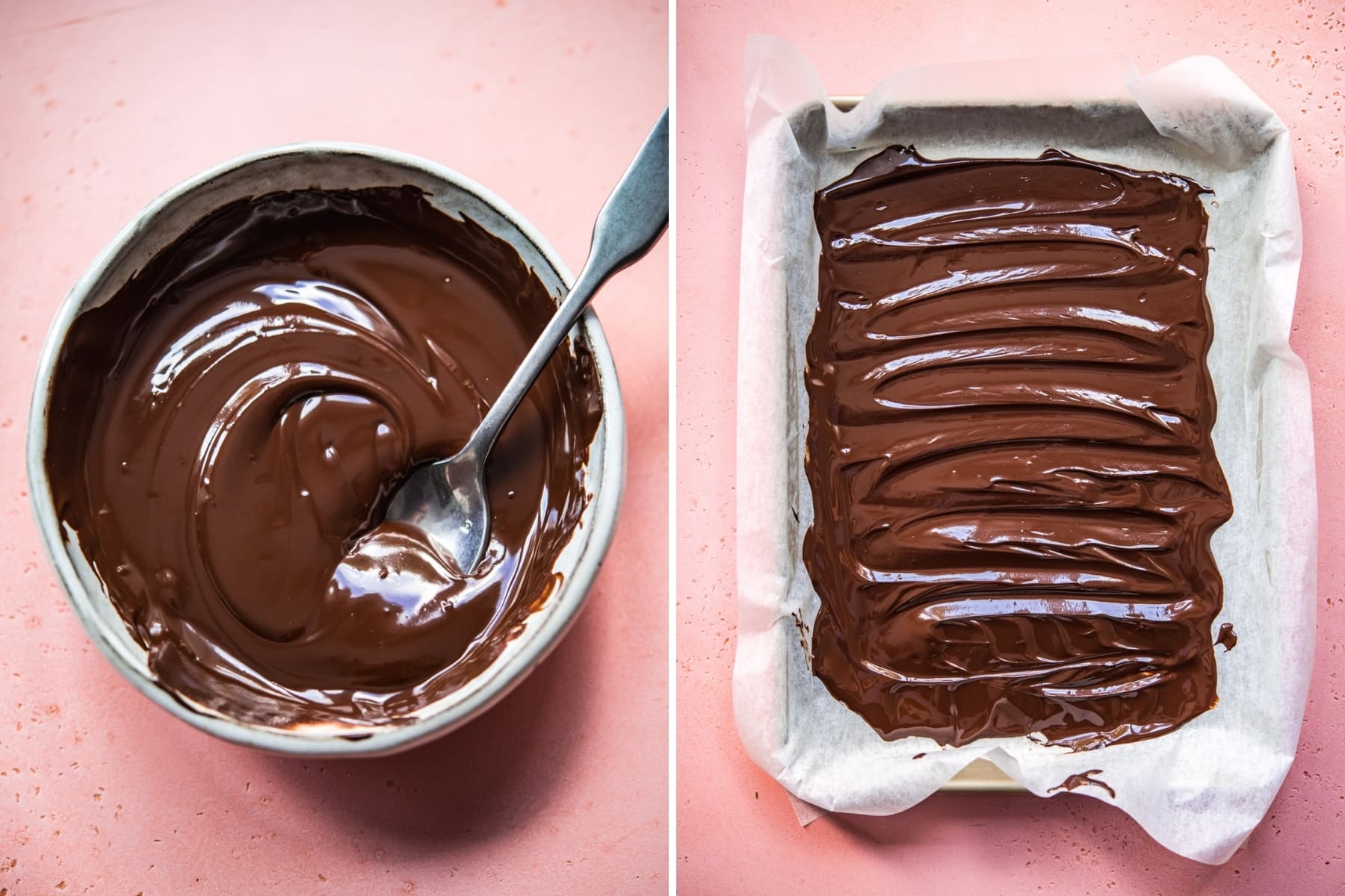 overhead view of melted dark chocolate in a bowl and a sheet pan.