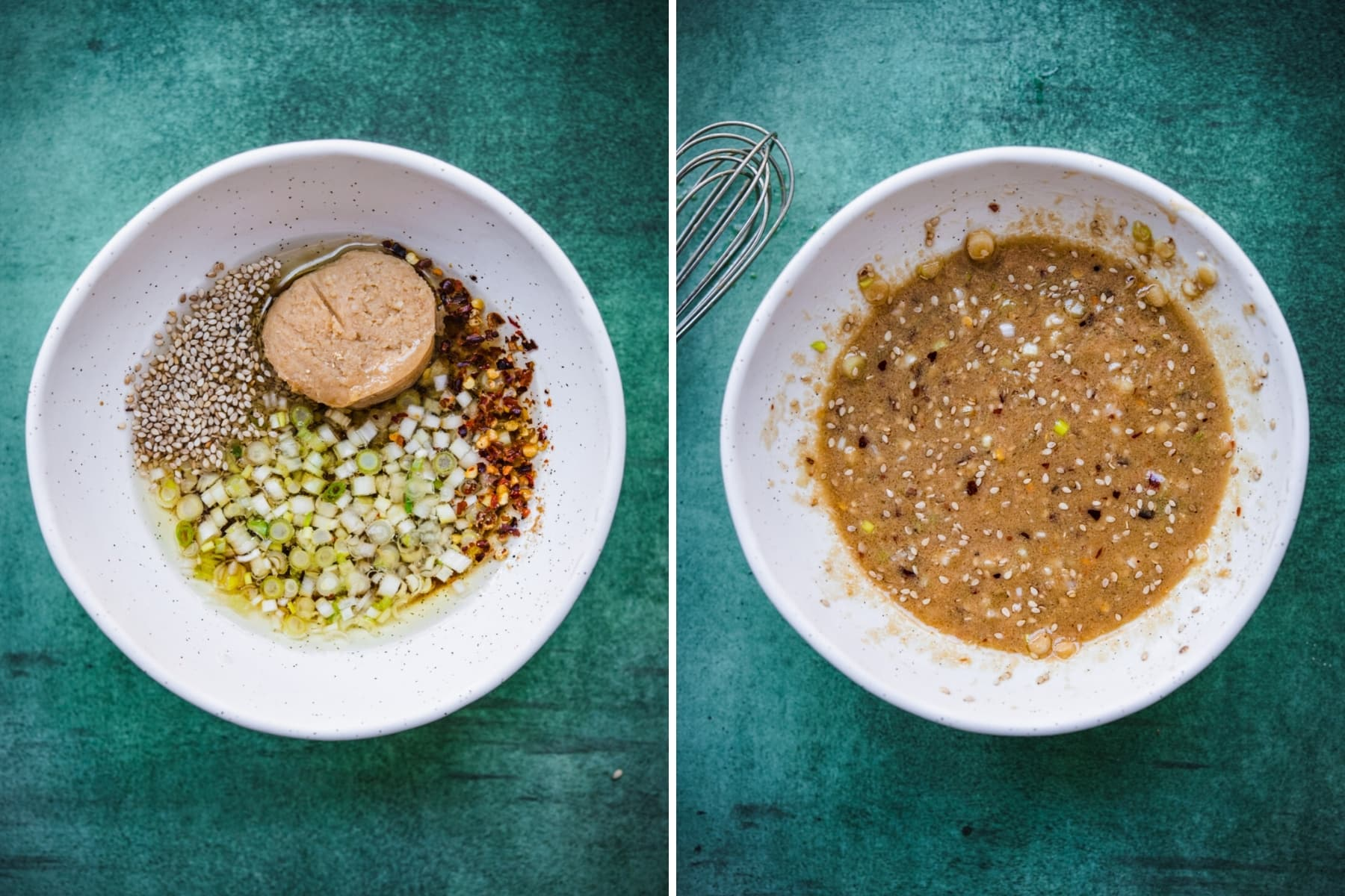 overhead view of before and after mixing together ingredients for miso dipping sauce.