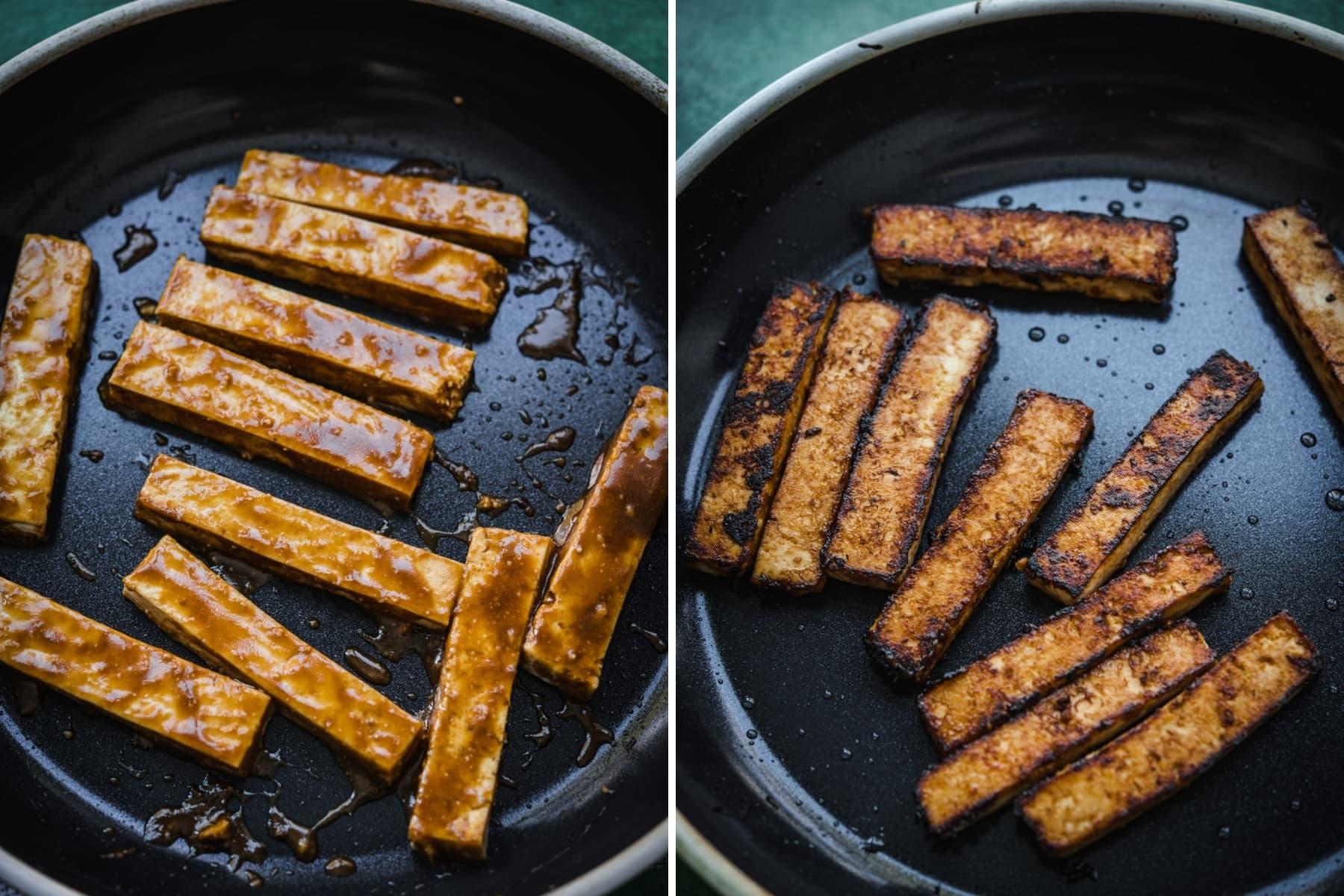miso glazed tofu in a nonstick skillet.