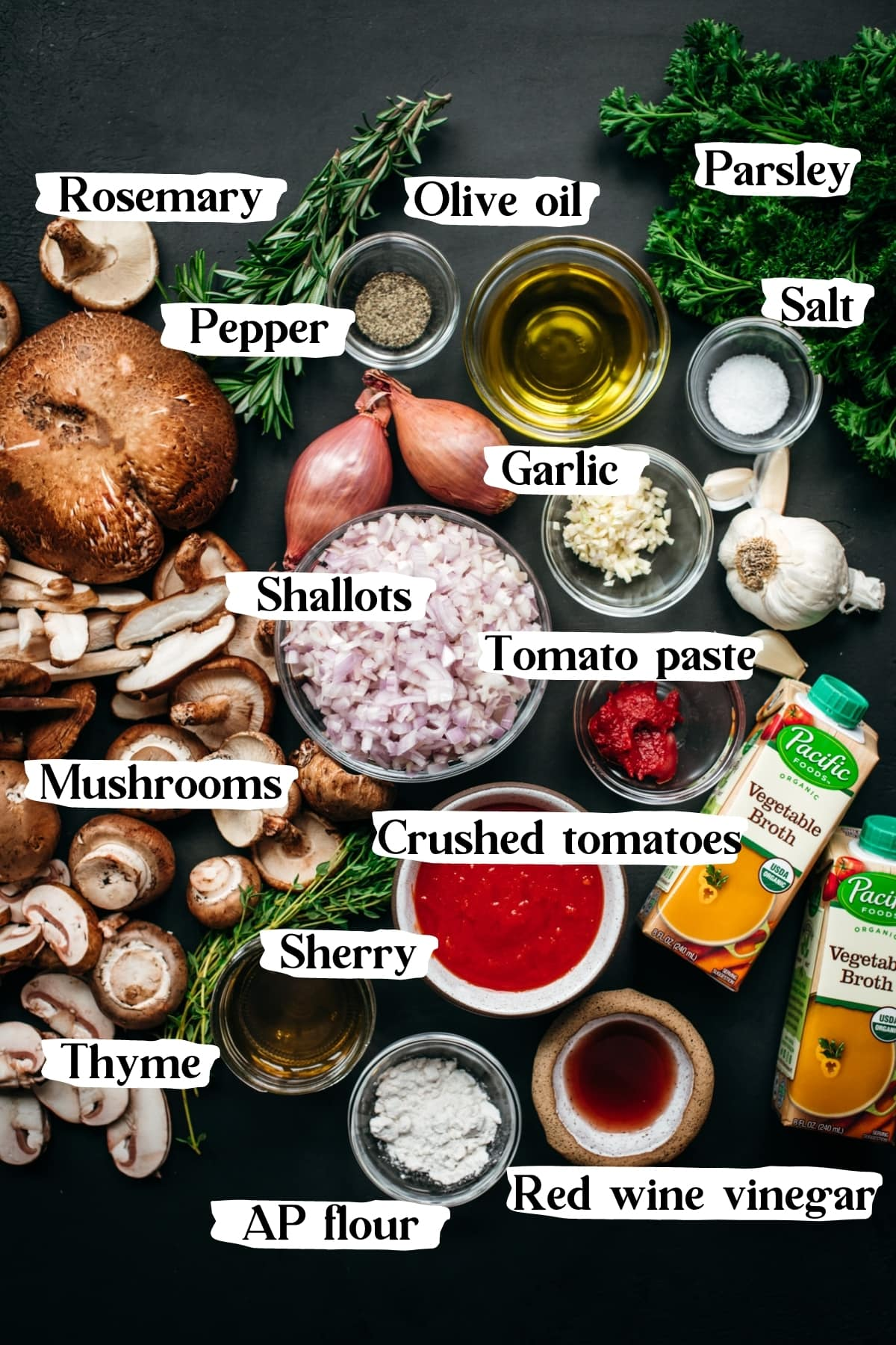 overhead view of ingredients for vegan mushroom ragu with text labels.