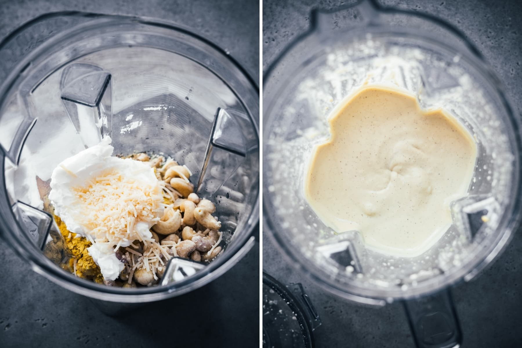 overhead view of cashew cheese sauce before and after blending.