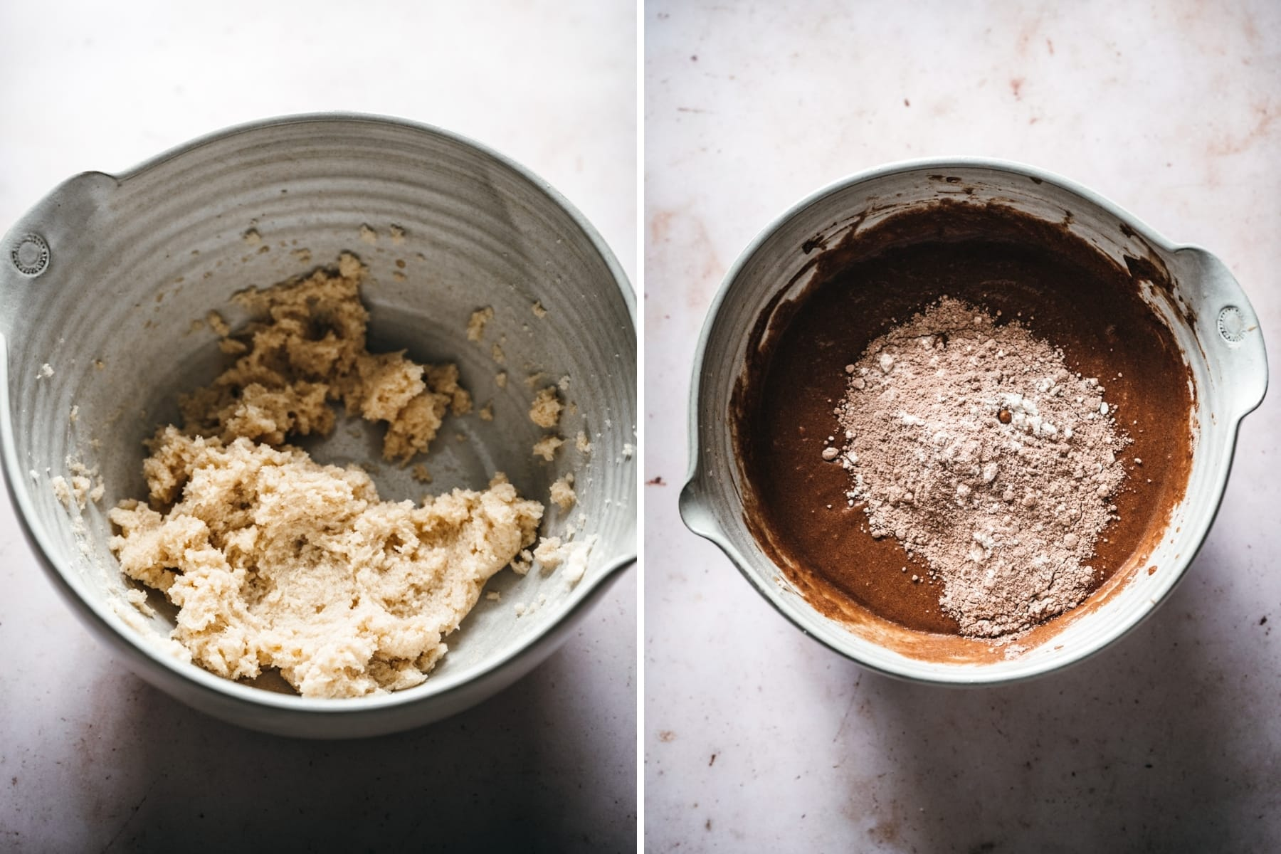 on the left: creamed vegan butter and sugar in mixing bowl. On the right, chocolate cupcake batter in bowl.