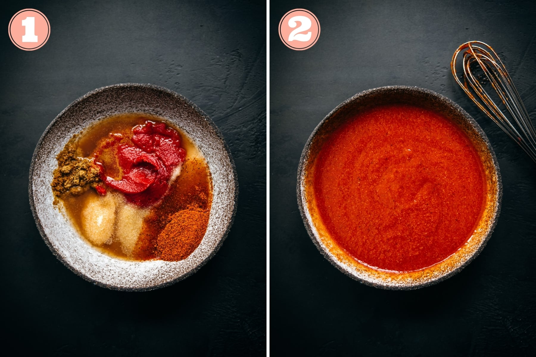 before and after whisking together ingredients for homemade taco sauce.